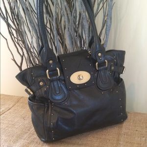 PERLINA Black Leather Satchel